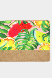 Lyn -Maree's Tropical Fruits Pouch Clutch Bag - Front full body