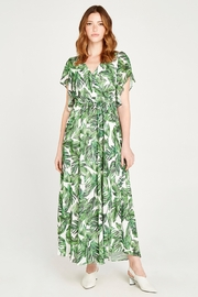 Apricot Tropical Leaf Surplice Tie Maxi Dress - Product Mini Image