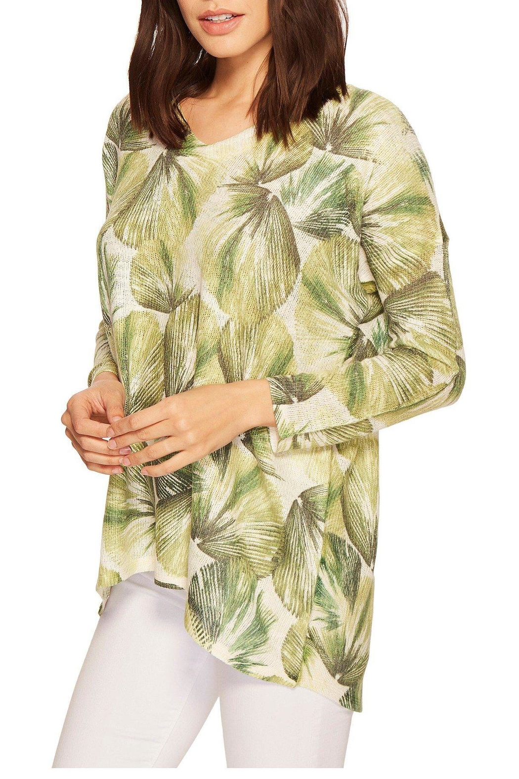 Nally & Millie Tropical Leaf Top - Back Cropped Image
