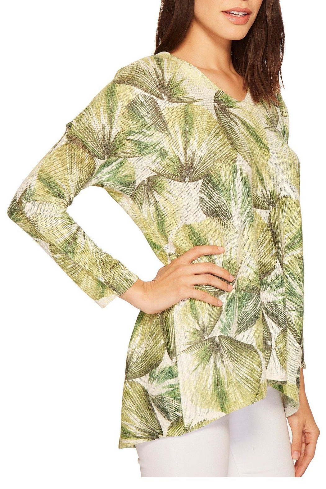 Nally & Millie Tropical Leaf Top - Side Cropped Image