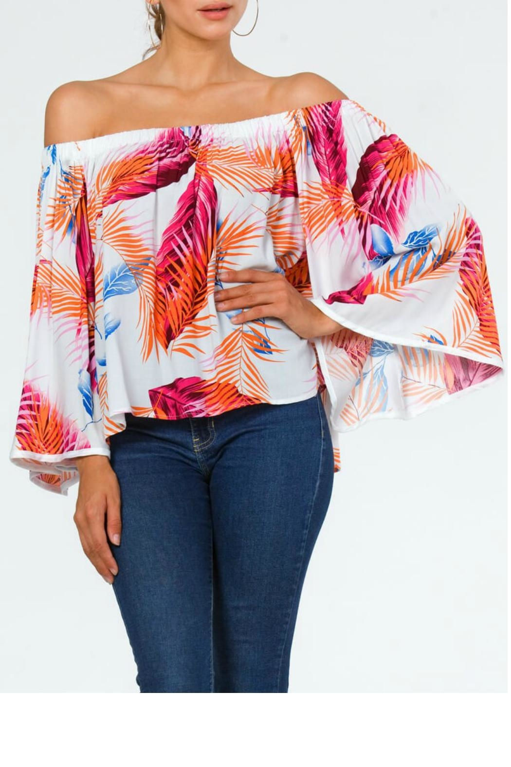 Carmen Tropical Off-Shoulder Top - Back Cropped Image