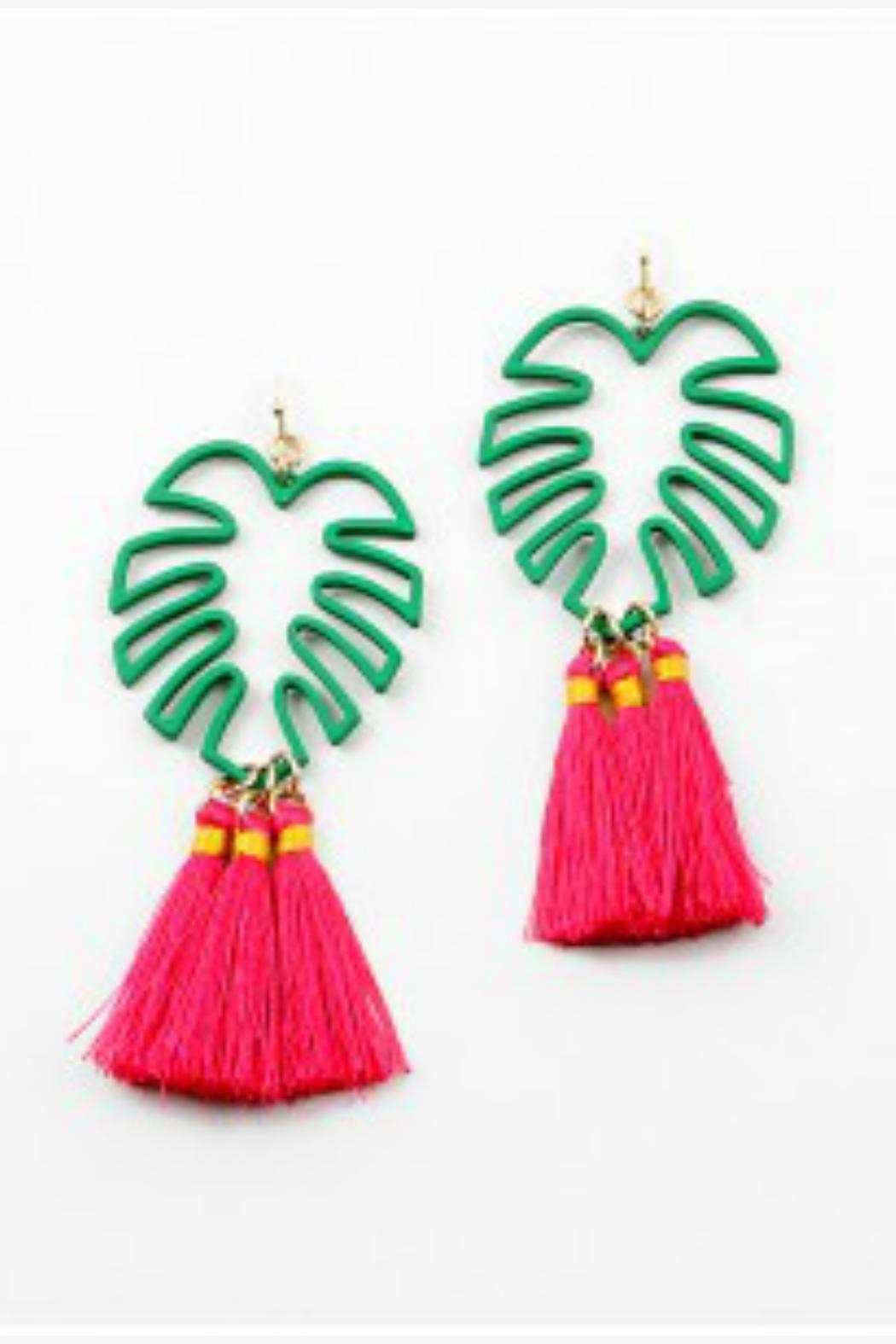Embellish Tropical Palm Earrings Front Cropped Image