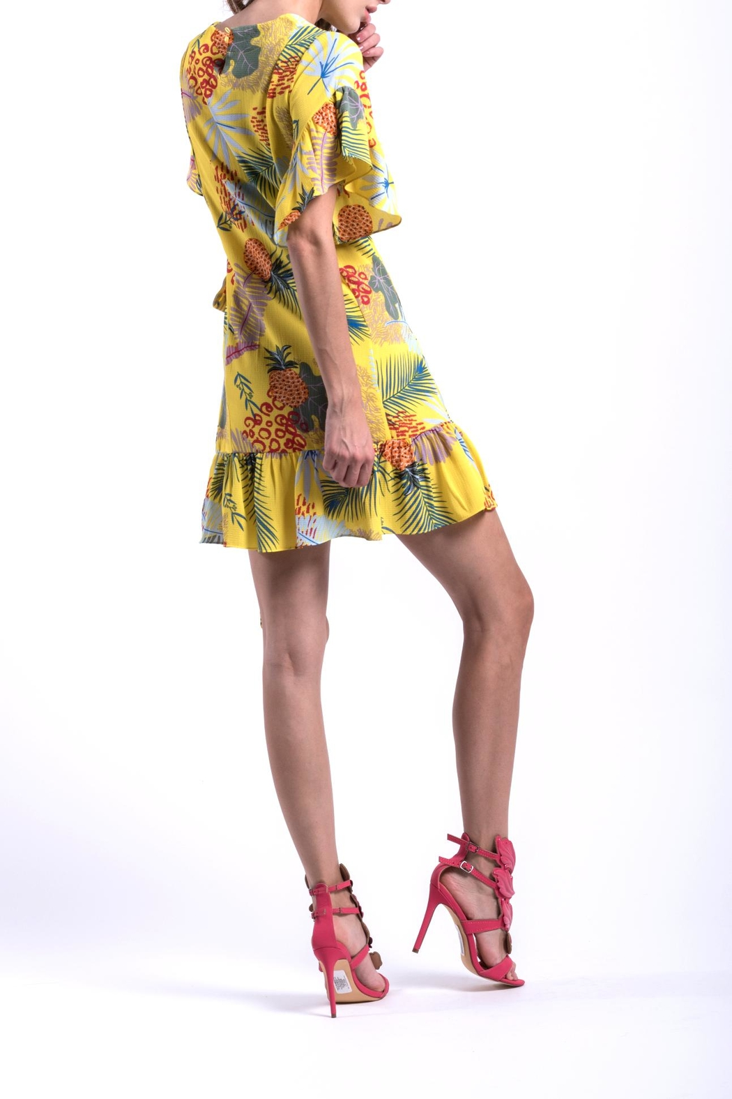 DOLCICIMO Tropical Pineapple Dress - Side Cropped Image