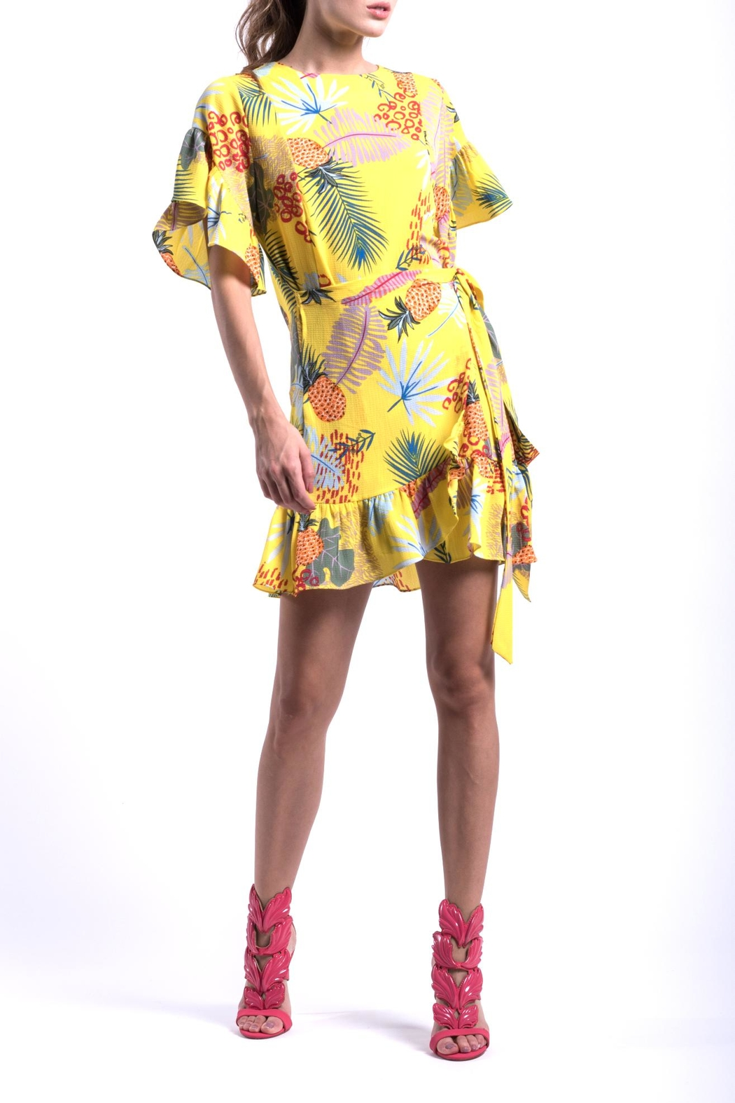 DOLCICIMO Tropical Pineapple Dress - Front Full Image