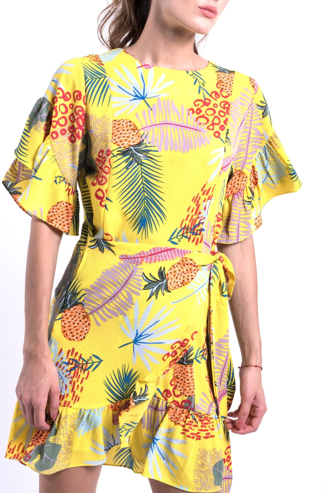 DOLCICIMO Tropical Pineapple Dress - Back Cropped Image