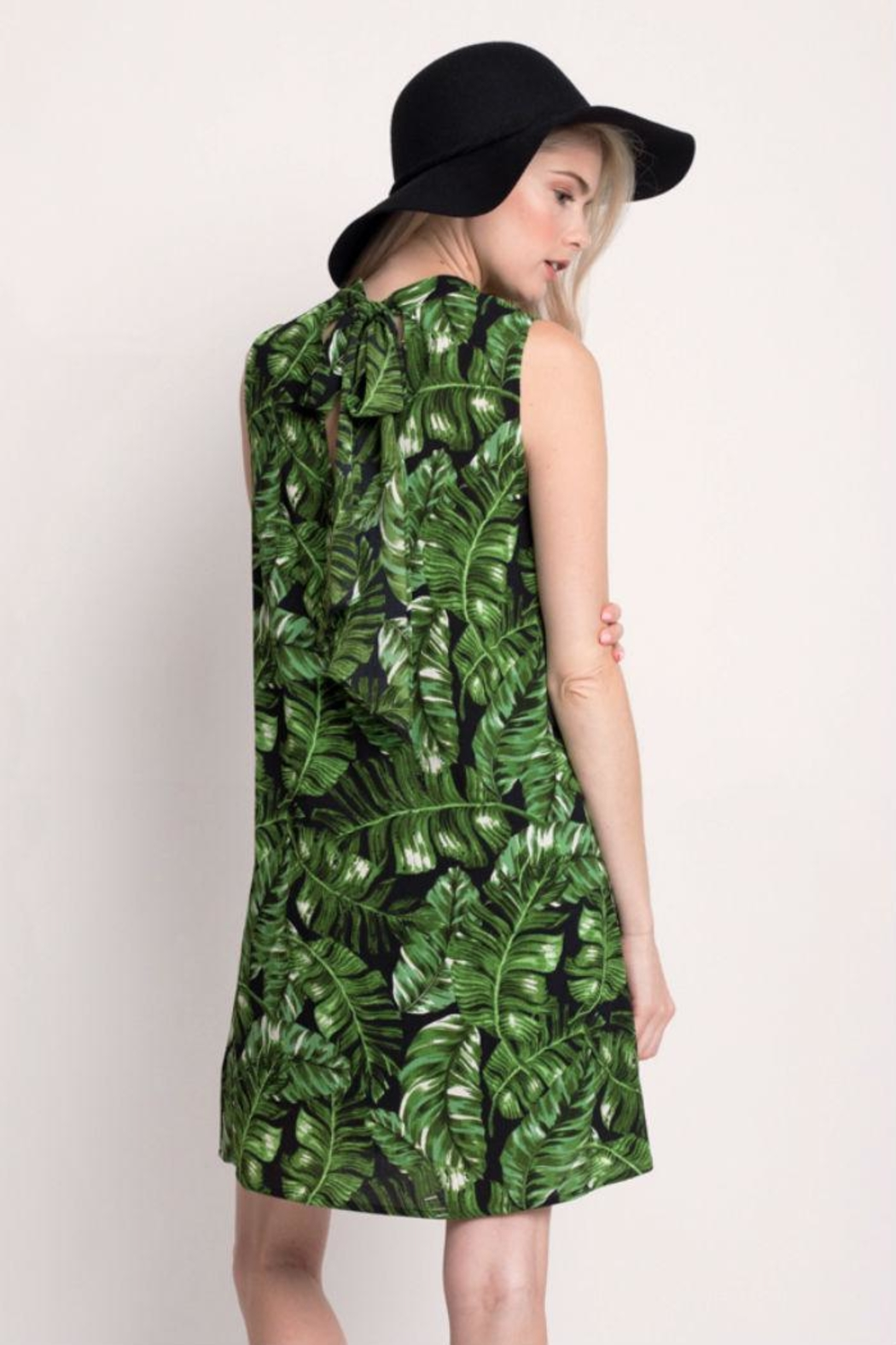 Rosette Tropical Print Dress - Side Cropped Image