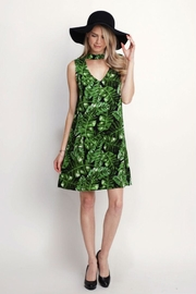 Rosette Tropical Print Dress - Front cropped