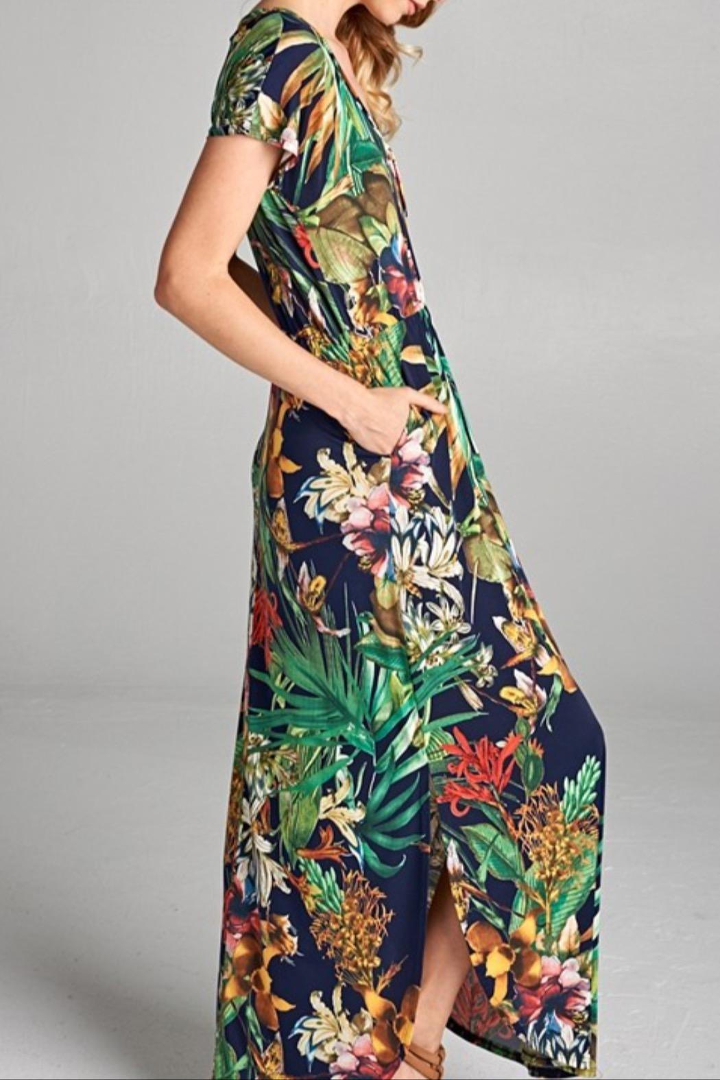 Hailey & Co Tropical Print Dress - Side Cropped Image