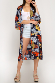She + Sky Tropical Print Duster - Front cropped