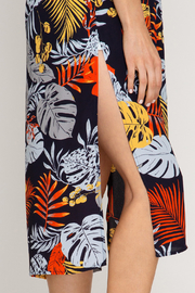 She + Sky Tropical Print Duster - Front full body