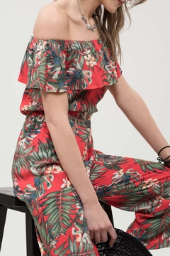 Blu Pepper Tropical Print Jumpsuit - Alternate List Image