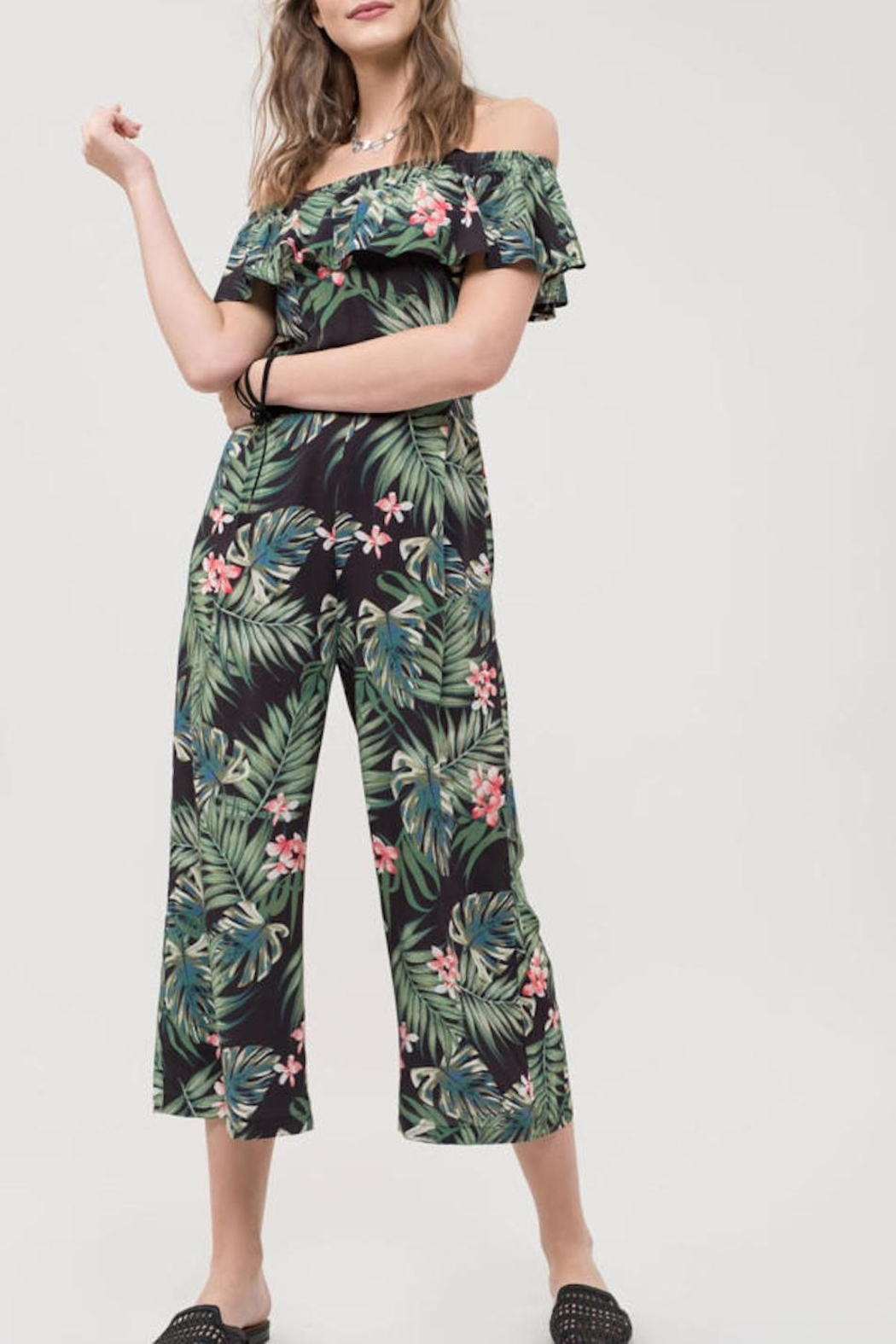 Blu Pepper Tropical Print Jumpsuit - Front Full Image