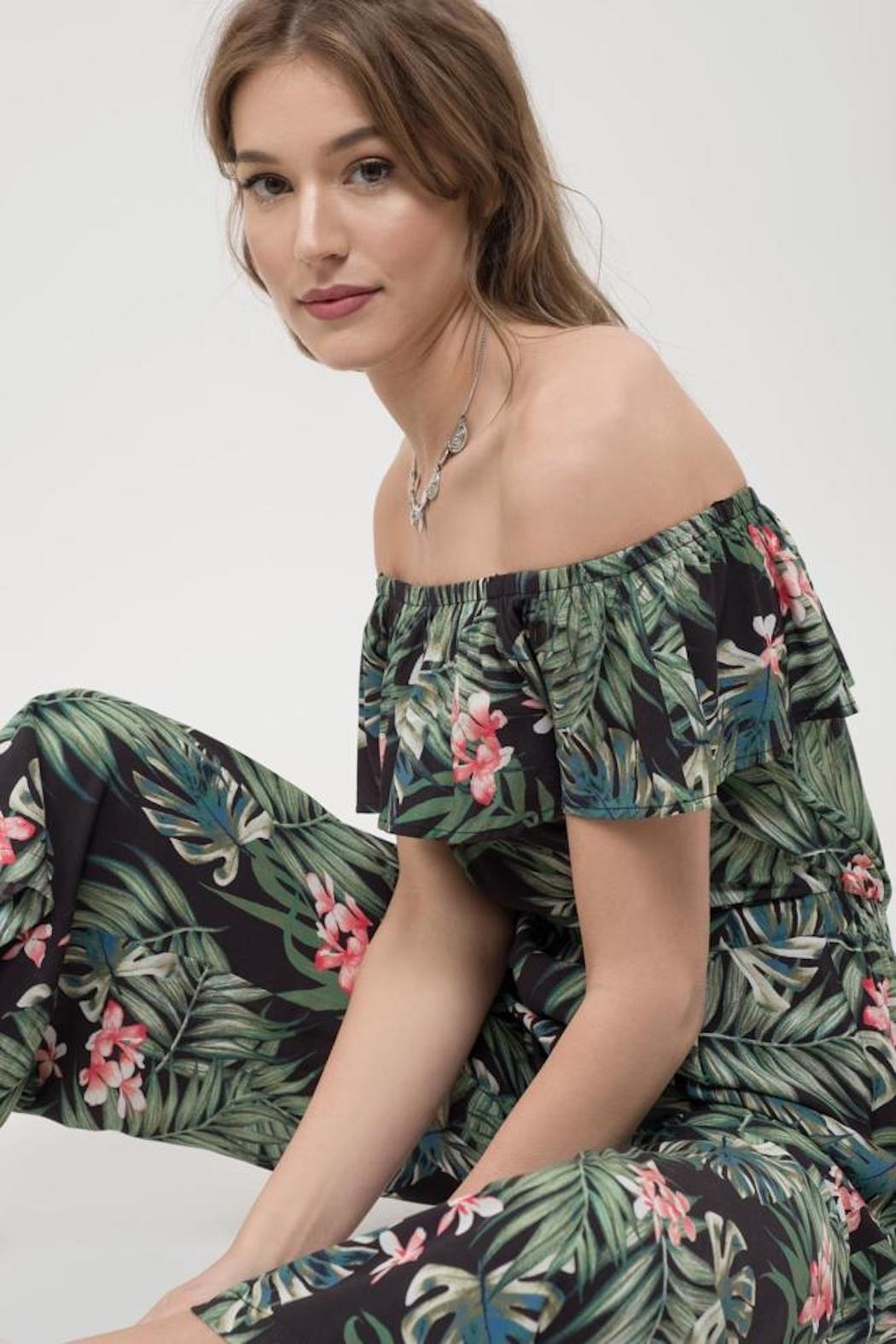 Blu Pepper Tropical Print Jumpsuit - Side Cropped Image