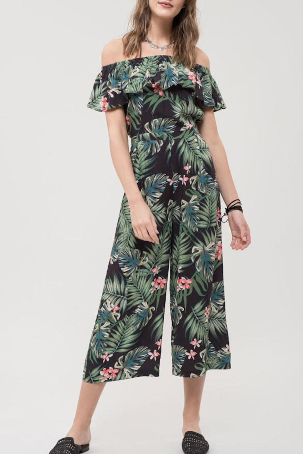 Blu Pepper Tropical Print Jumpsuit - Front Cropped Image