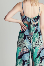 blue blush Tropical Print Jumpsuit - Front full body