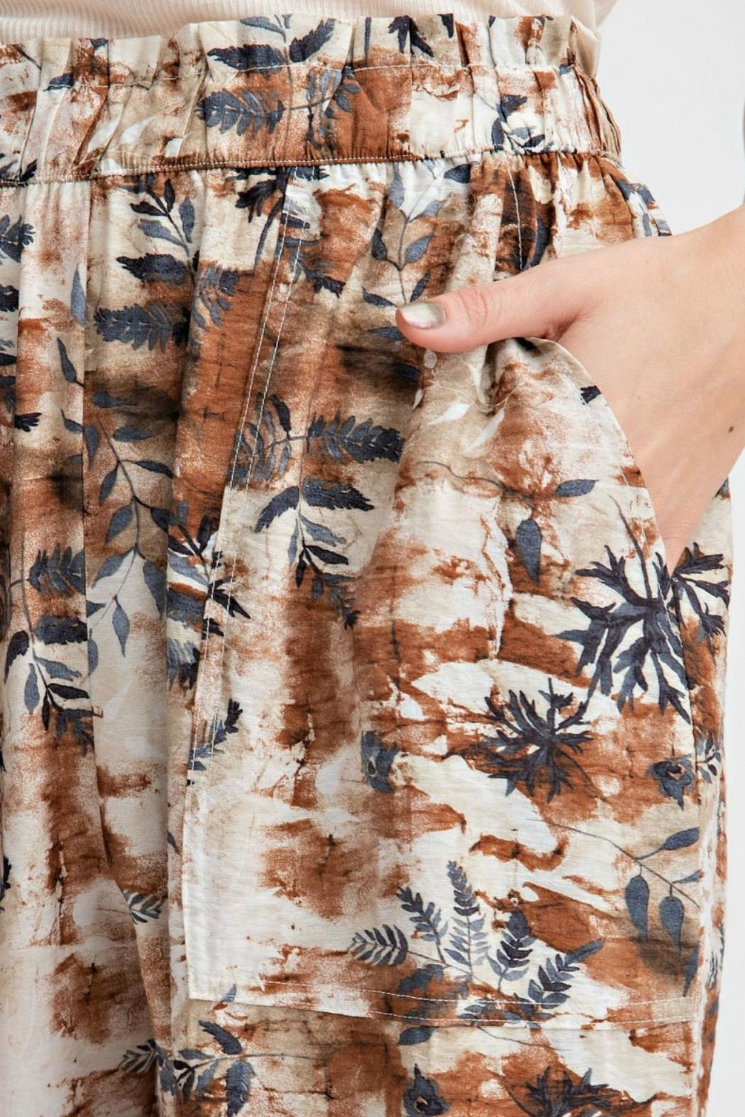 easel Tropical Print Pant - Front Full Image