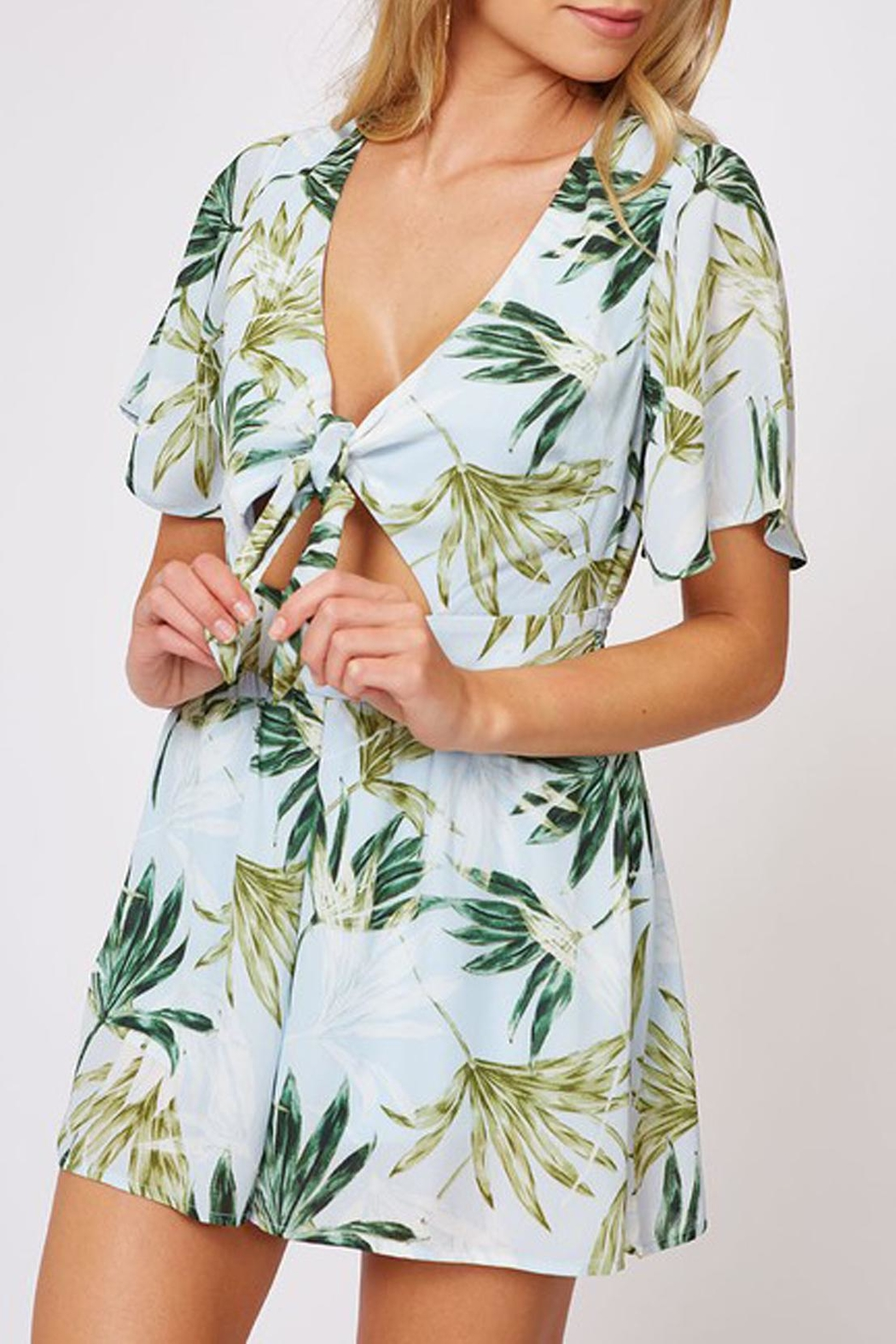 Peach Love California Tropical Print Romper - Side Cropped Image