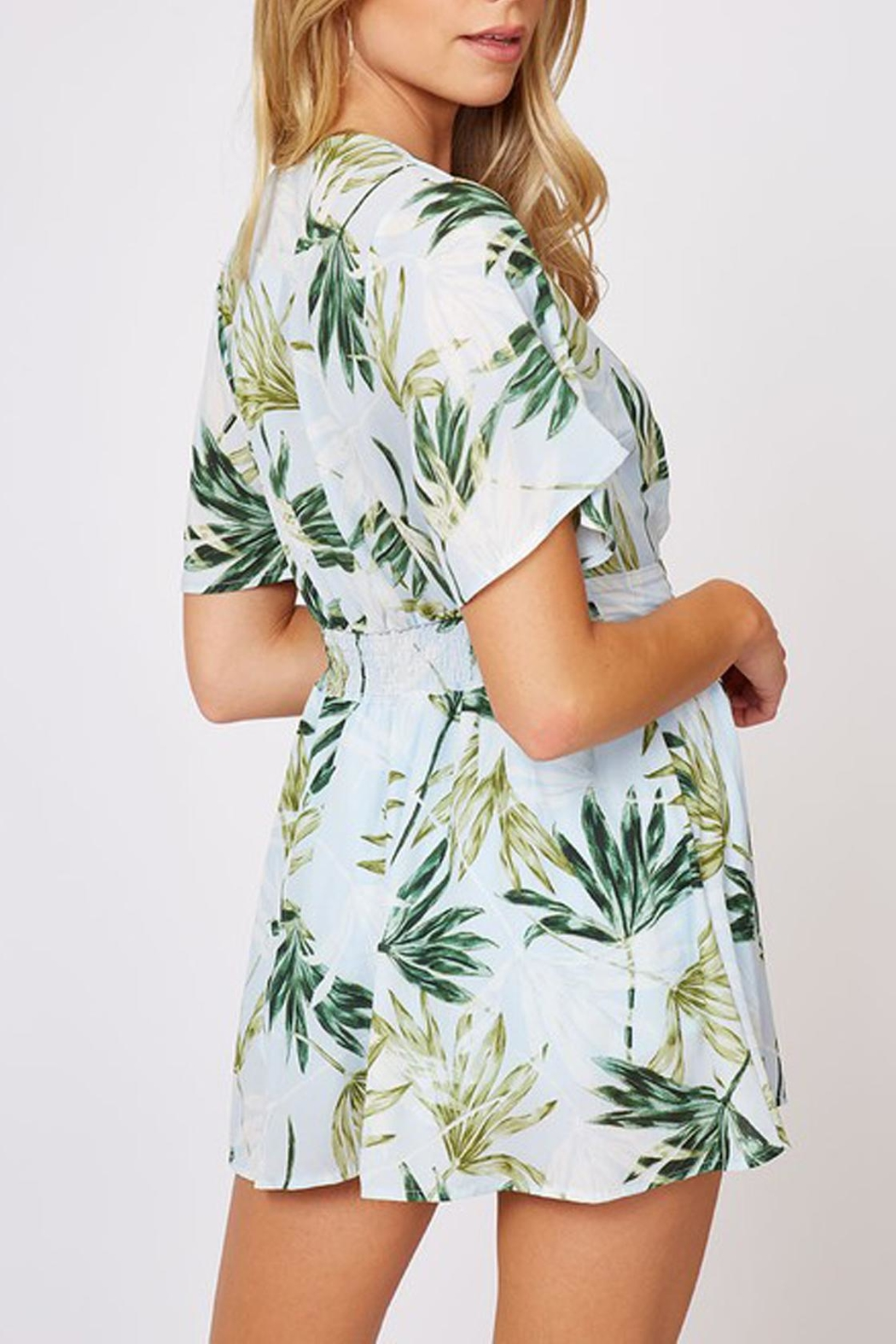 Peach Love California Tropical Print Romper - Back Cropped Image