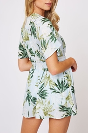 Peach Love California Tropical Print Romper - Back cropped