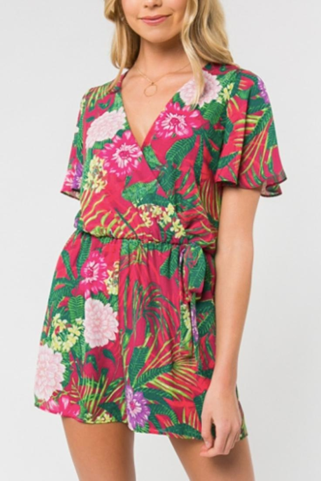 Everly Tropical Print Romper - Main Image