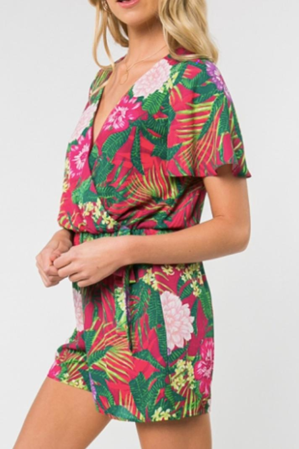 Everly Tropical Print Romper - Front Full Image