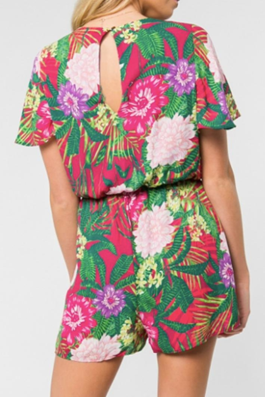 Everly Tropical Print Romper - Side Cropped Image