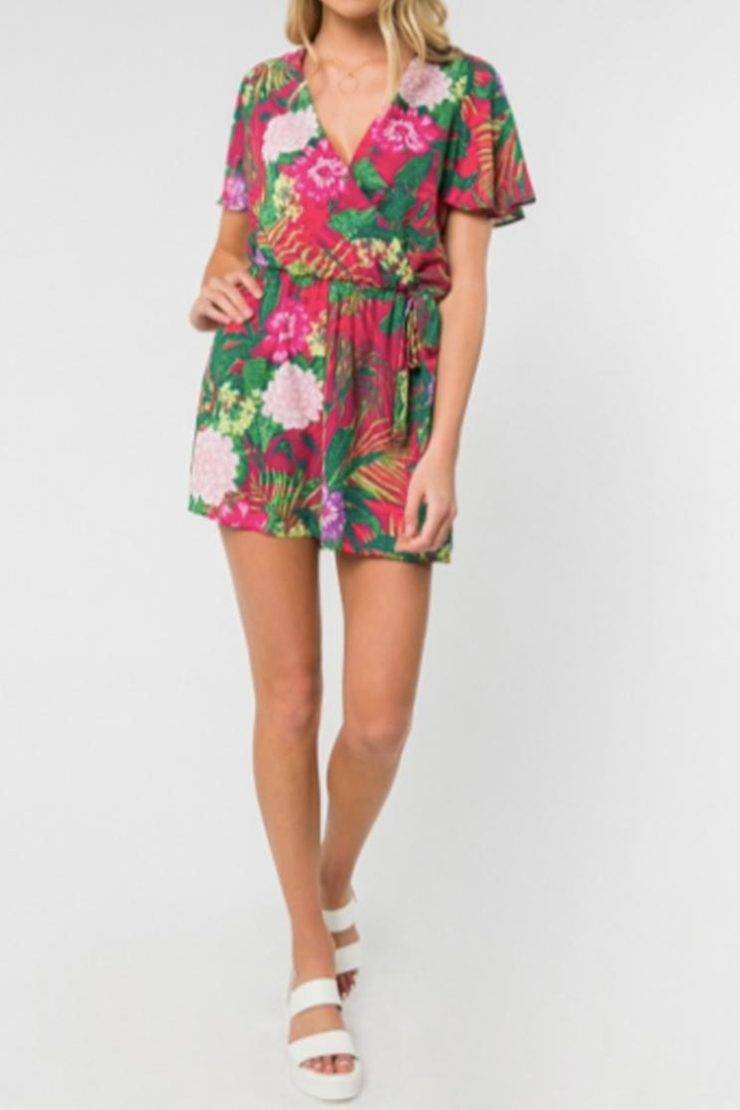 Everly Tropical Print Romper - Back Cropped Image