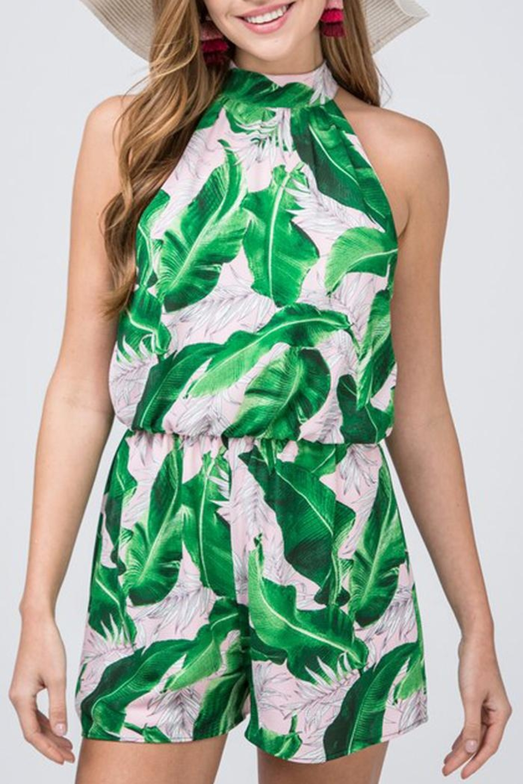 Entro Tropical Print Romper - Side Cropped Image