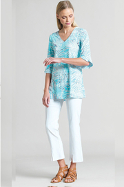 Clara Sunwoo Tropical Print V-Neck Tulip Sleeve Tunic - Turquoise - Product Mini Image
