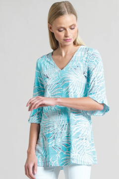 Clara Sunwoo Tropical Print V-Neck Tunic - Product List Image