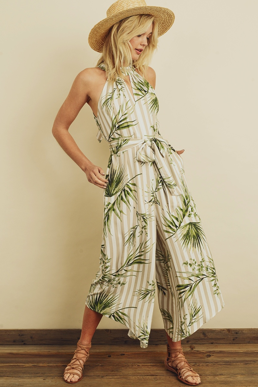 dress forum Tropical Stripe Halter Jumpsuit - Side Cropped Image