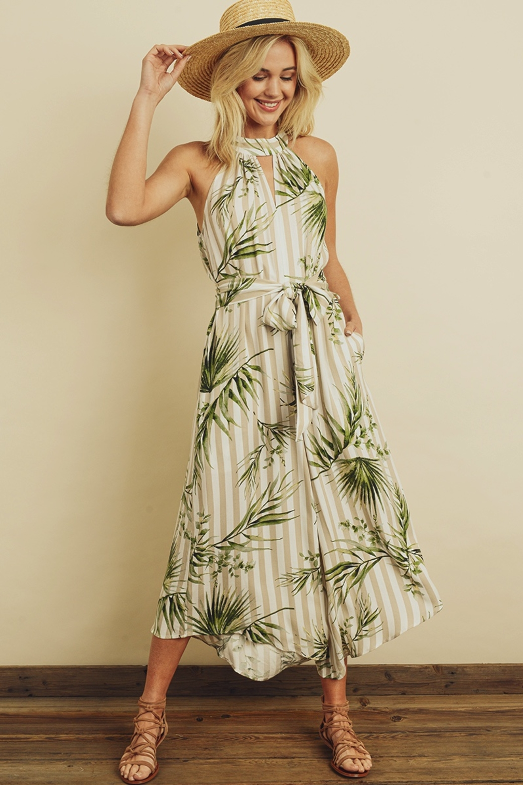 dress forum Tropical Stripe Halter Jumpsuit - Main Image