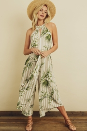 dress forum Tropical Stripe Halter Jumpsuit - Front cropped