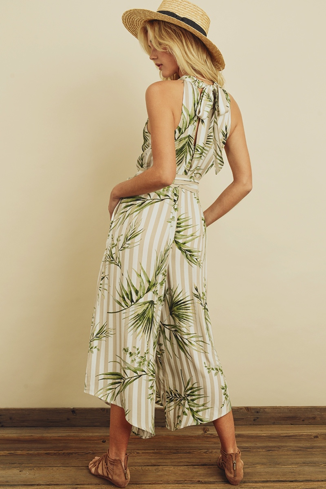 dress forum Tropical Stripe Halter Jumpsuit - Back Cropped Image