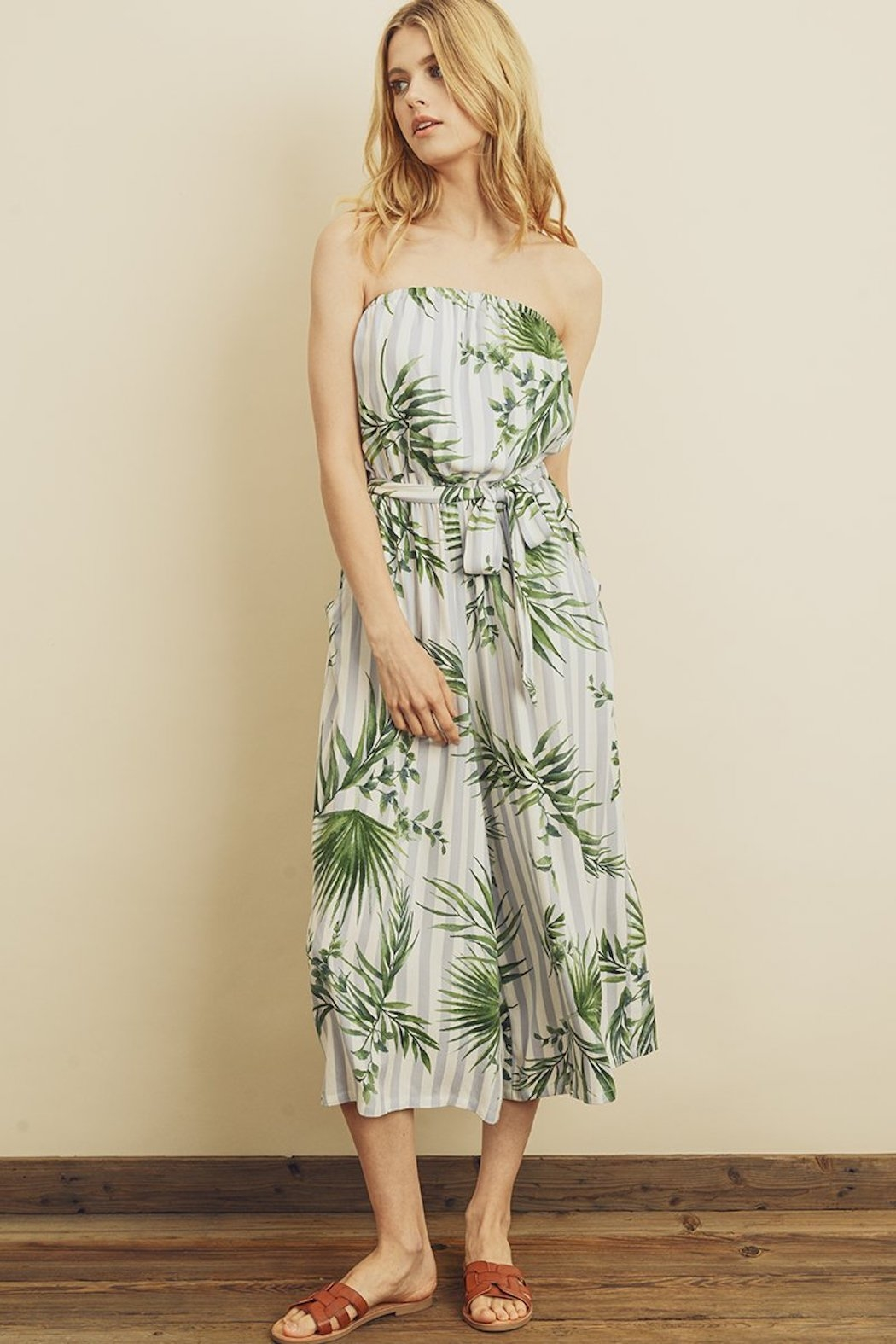 dress forum Tropical Stripe Jumpsuit - Side Cropped Image