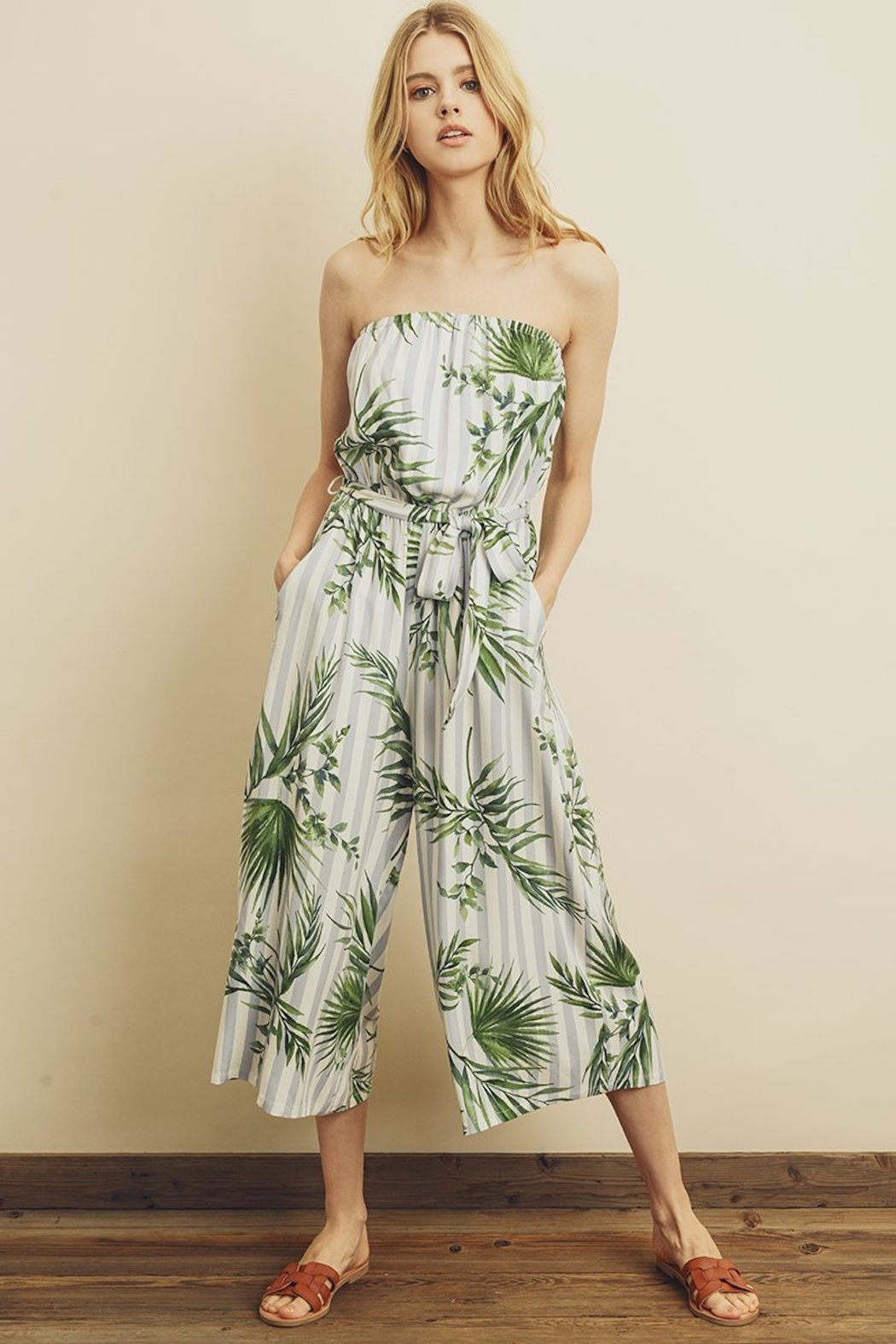 dress forum Tropical Stripe Jumpsuit - Front Cropped Image