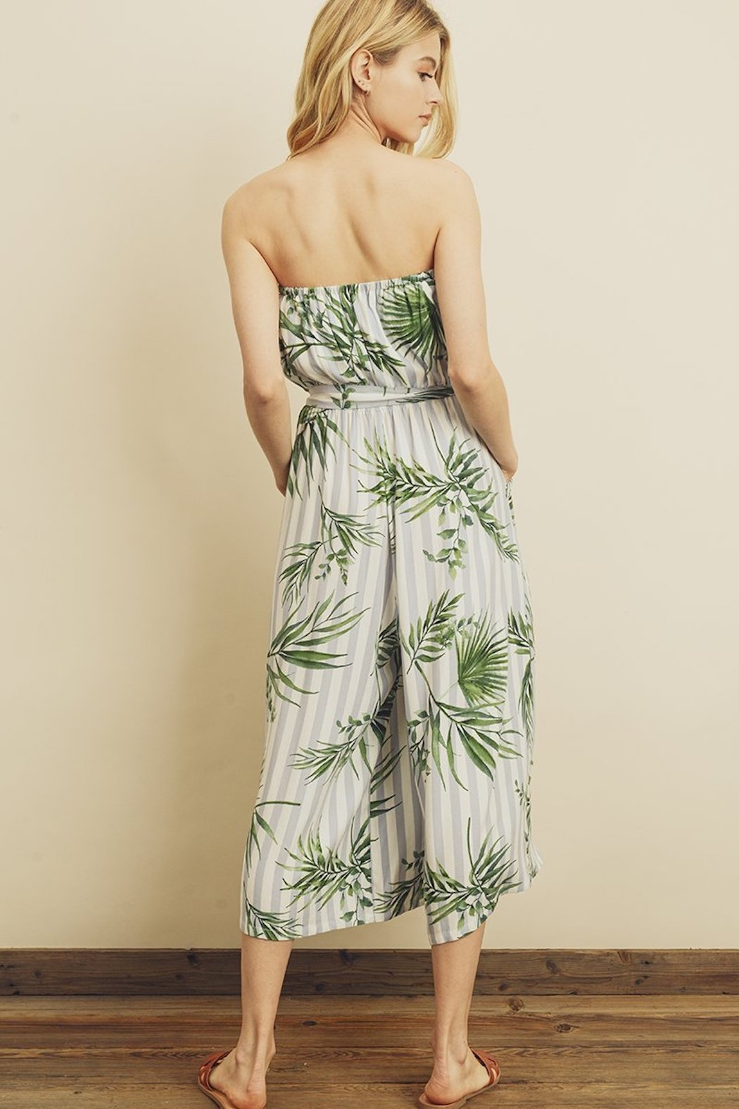 dress forum Tropical Stripe Jumpsuit - Back Cropped Image