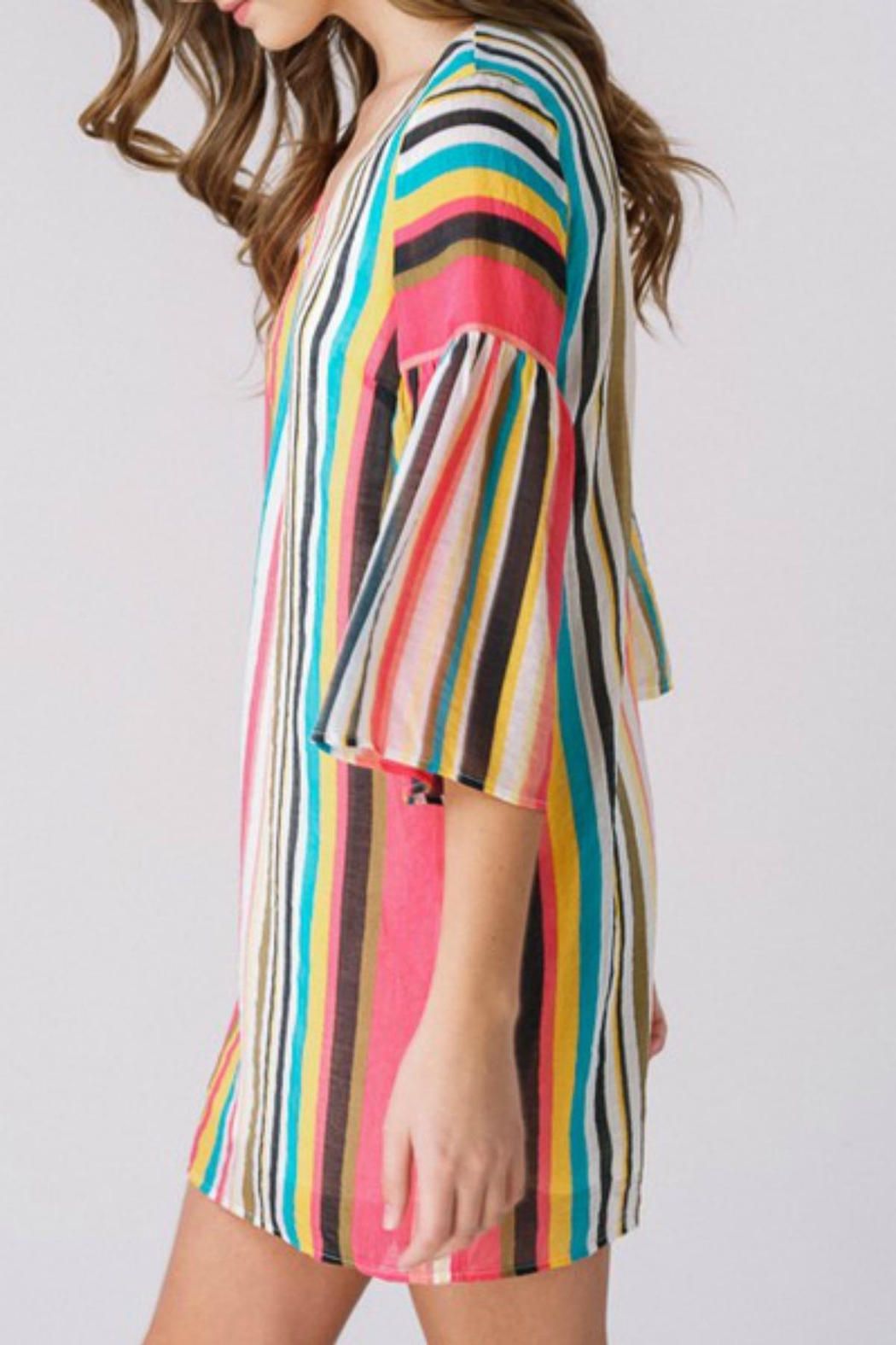 Listicle Tropical-Striped Bell-Sleeve Dress - Front Full Image
