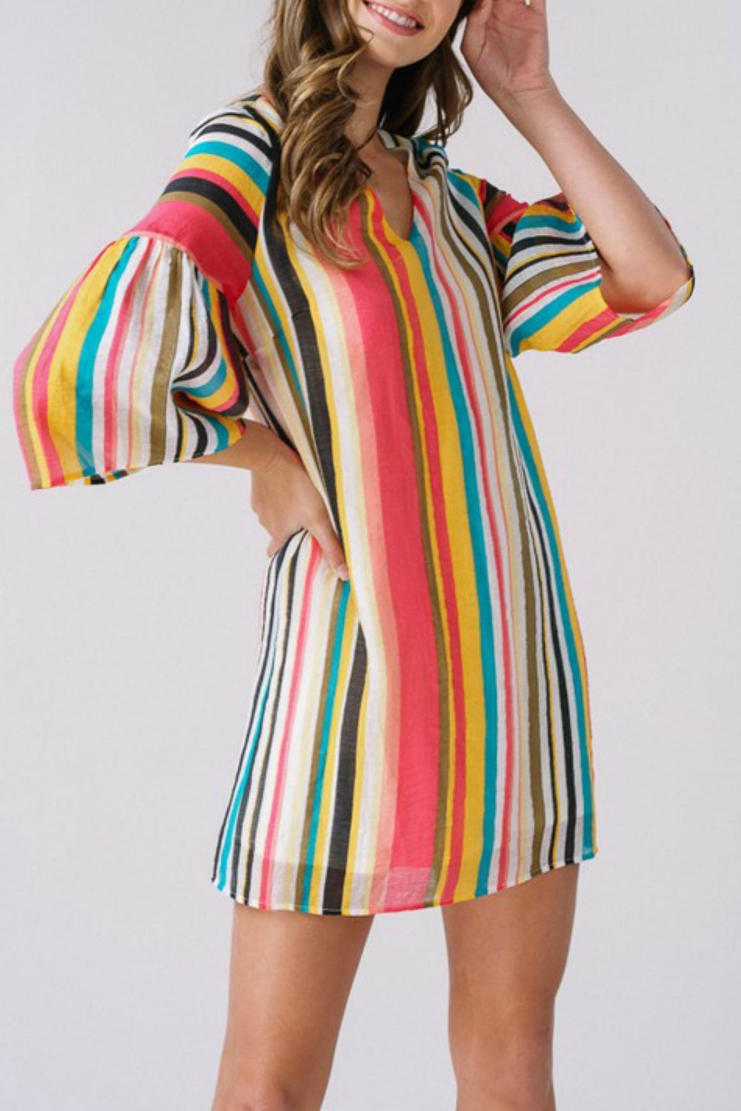 Listicle Tropical-Striped Bell-Sleeve Dress - Main Image