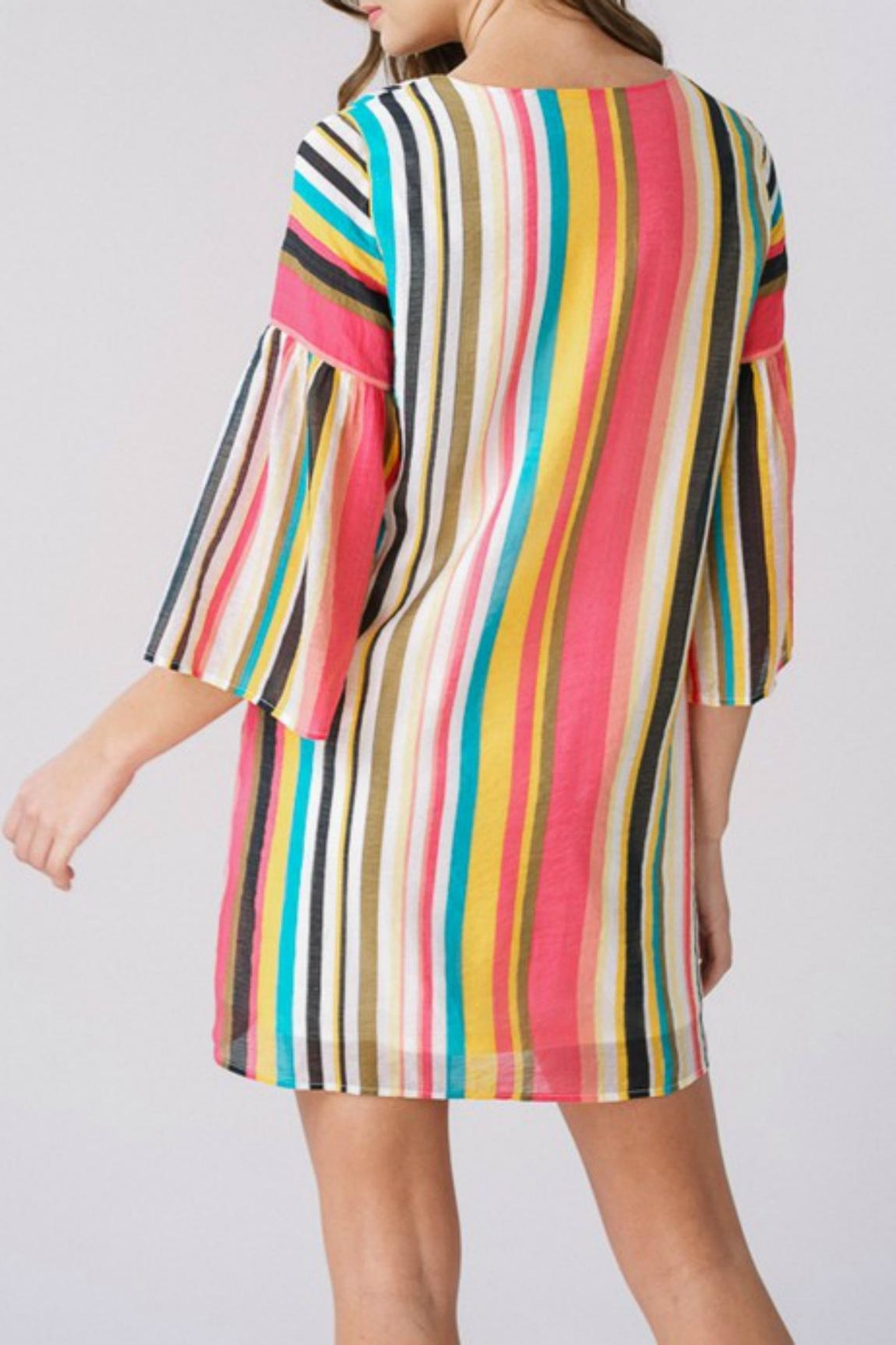 Listicle Tropical-Striped Bell-Sleeve Dress - Side Cropped Image