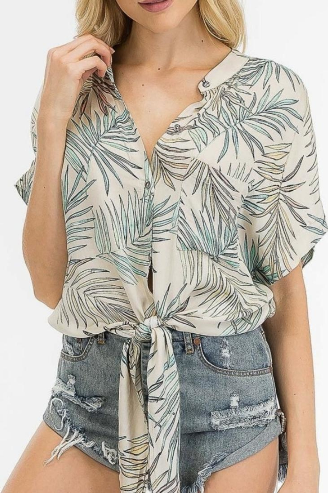 Olivaceous Tropical Tie Top - Main Image