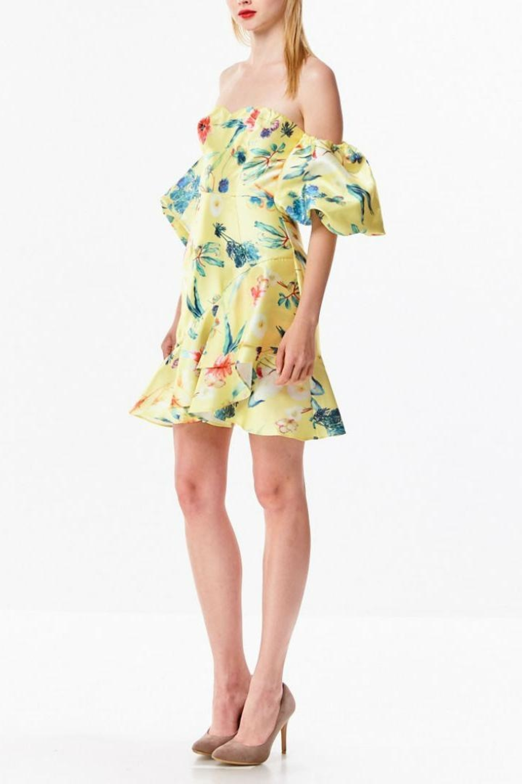 Ina Tropical Yellow Dress - Side Cropped Image