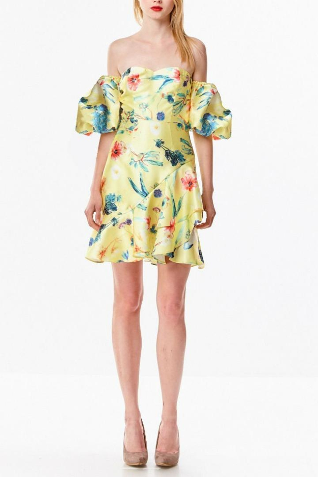 Ina Tropical Yellow Dress - Front Full Image