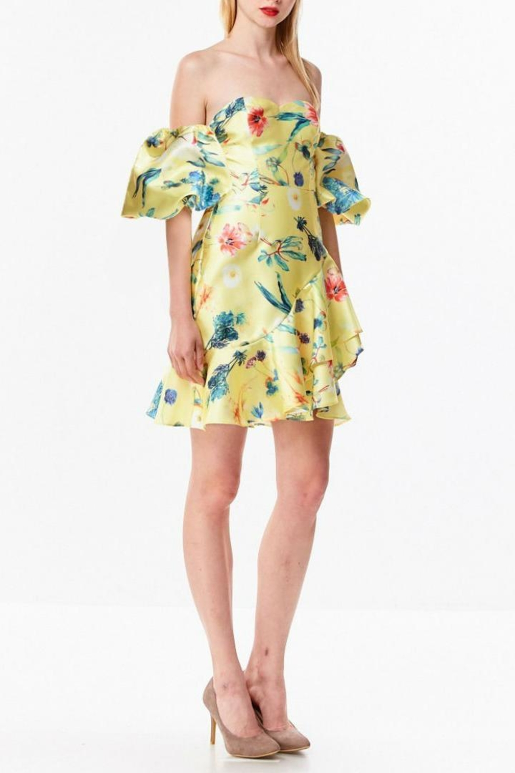 Ina Tropical Yellow Dress - Back Cropped Image
