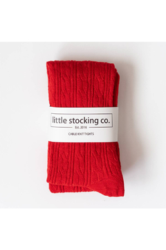 Little Stocking Co True Red Cable Knit Tights - Alternate List Image
