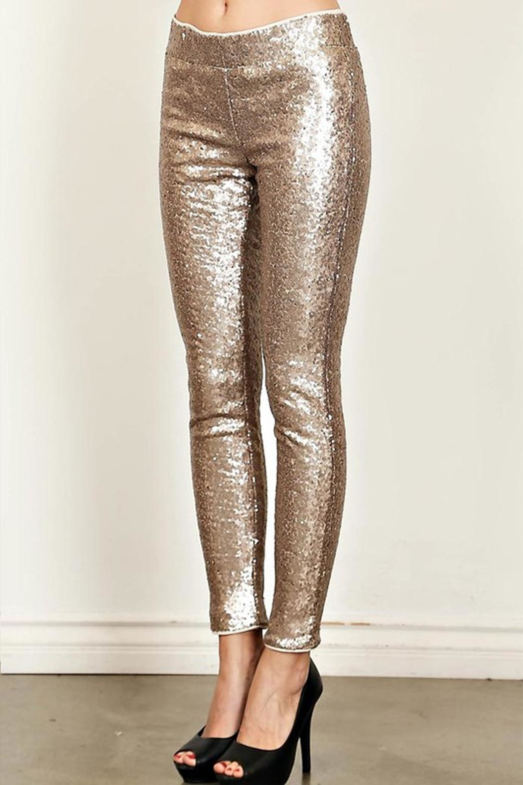 True Love Sequin Skinny Pants - Back Cropped Image