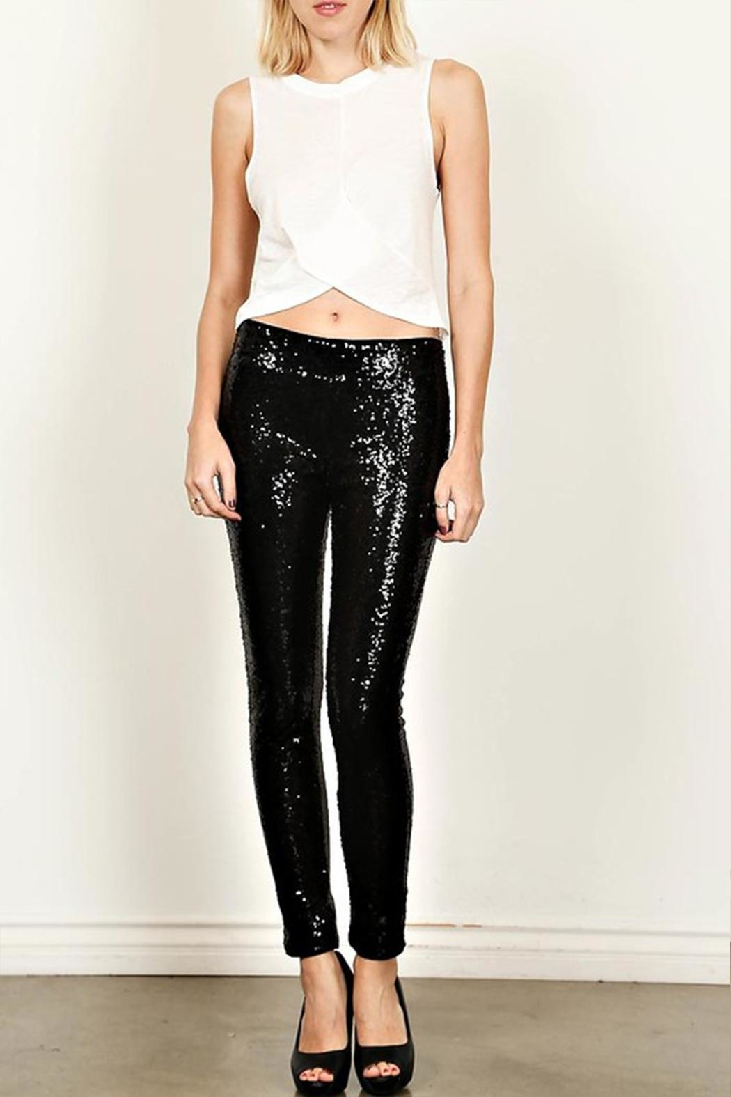 True Love Sequin Skinny Pants - Front Cropped Image