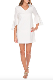 Jade Trumpet Sleeve V Neck Dress - Product Mini Image