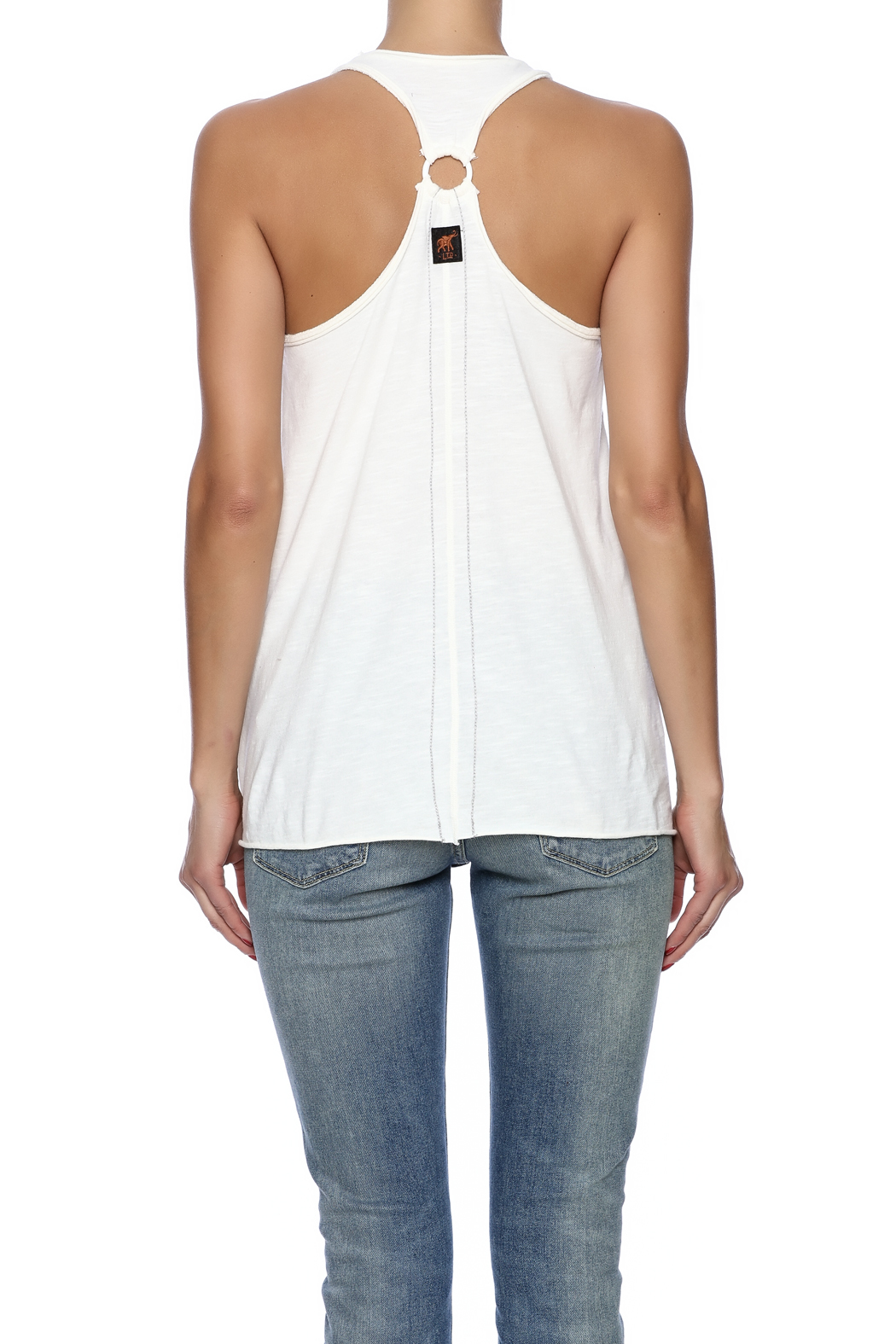 Trunk Ring Back Racer Tank - Back Cropped Image