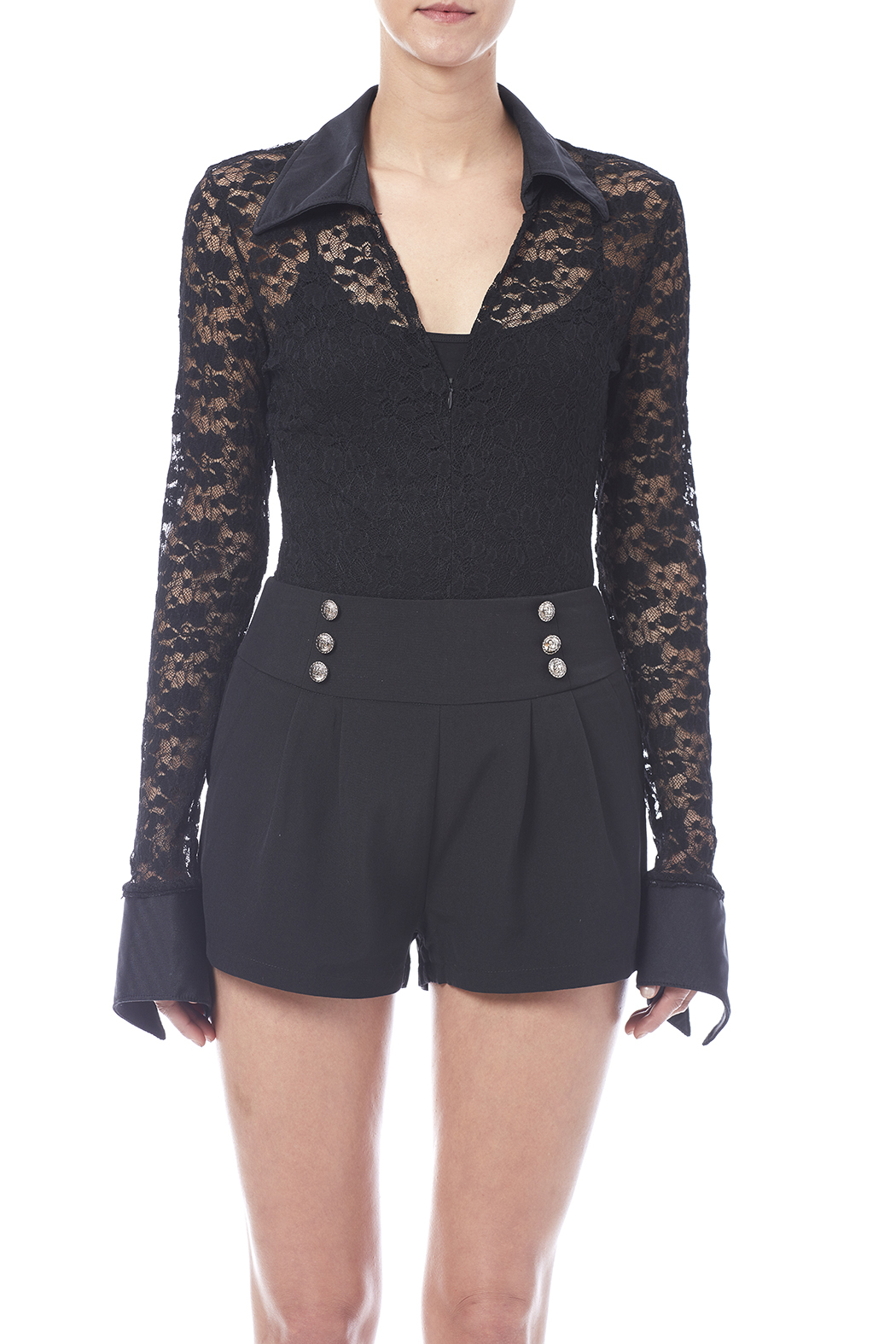 tu-anh boutique Black Lace Bodysuit - Side Cropped Image